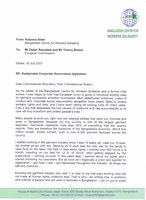 Letter by Kalpona Akter to the European Commission on sustainable corporate governance legislation