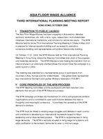 Asia Floor Wage Alliance - Third International Planning Meeting Report 2008