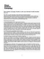 Clean Clothes Campaign Position on the new Fairtrade Textile Standard