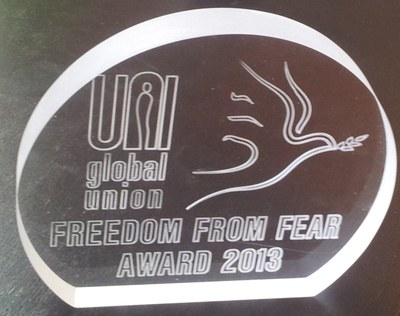 "At the end of 2013, Clean Clothes Campaign had the honor of receiving the ""Freedom From Fear"" award from UNI Global Union"