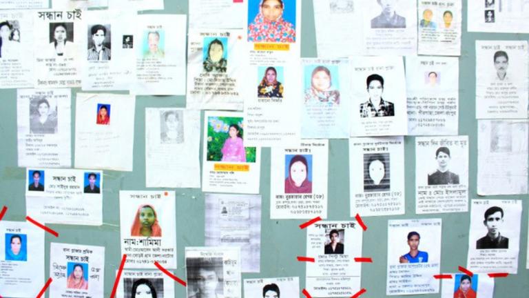 photos of missing people at Rana Plaza