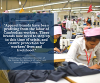 Brands must urgently take steps to minimise impact of the coronavirus on garment workers' health and livelihoods