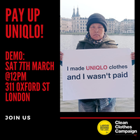 Campaigners call on Uniqlo to resolve wage theft case for International Women's Day