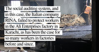 Faulty Pakistan factory audit: Italian social auditor RINA yet again disregards families harmed by textile factory fire