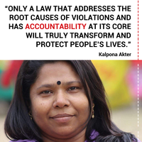 Open letter to European Commissioners: Kalpona Akter calls for strong protections against violations and access to justice for victims
