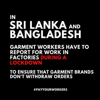 Over 50 organisations call on brands, governments and employers in Bangladesh and Sri Lanka to keep workers safe